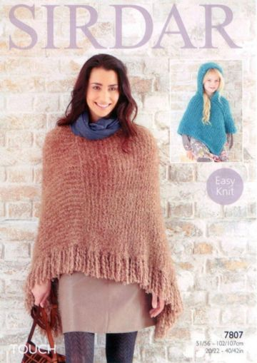 Ladies and Girls Ponchos in Sirdar Touch Knitting Pattern 7807, 20- 42 inches